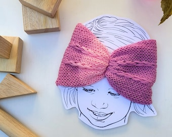 Braided Knit Ear Warmer, Cinched Headband Pink / Lavender - Toddler size - Ready to Ship