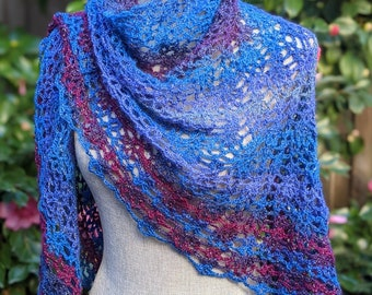 Lightweight Pineapple Lace Crochet Sparkly Women's Shawl / Wrap, Ready to Ship