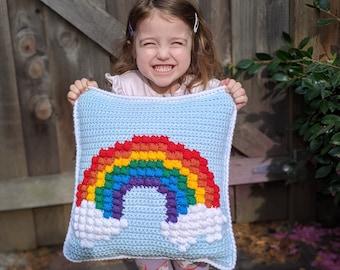 "Rainbow Puff Throw Pillow Cover 14"" - Crochet Pattern"