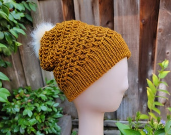 Slouchy Spiral Beanie with Removable Faux Fur Pom and Brim in Gold Heather, Knit Hat, Women's / Men's Adult size, Ready to Ship