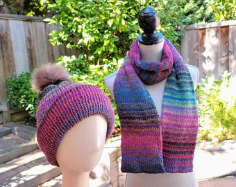Scarf and Hat Set with Removable Pom-Pom, Multicolor stripes, Women's / Men's Adult size, Ready to Ship