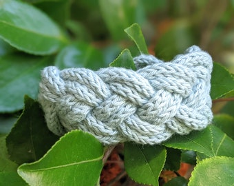 Chunky Double Braid Bracelet, Cotton Knit Rope Knot Statement Jewelry - Ready to Ship