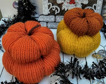 Stack of 2 Knit Pumpkins, Fall Decor, Halloween Decorations, Ready to Ship