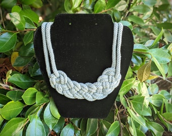 Chunky Double Braid Necklace, Cotton Knit Rope Knot Statement Jewelry - Ready to Ship
