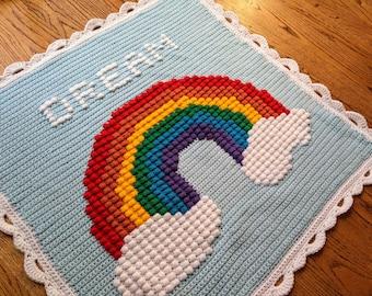 Rainbow Puff Baby Blanket, Customizable Name / Date - Crochet Pattern