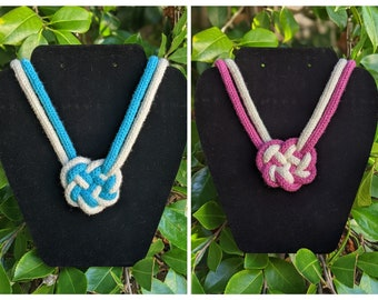 Celtic Heart Knot Necklace, Two Color, Adjustable Length, Knit Rope Statement Jewelry - Ready to Ship
