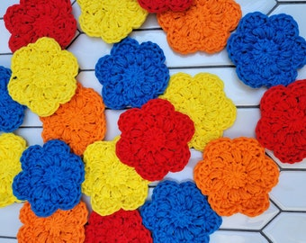 Flower Face Scrubbies, Set of 5 Eco-friendly cotton rounds, Makeup Remover Pads, Crochet, Ready to Ship
