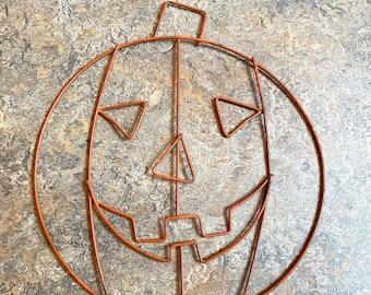Vintage Wire JOL Pumpkin 1950s Orange Paint Halloween Decoration Jack O Lantern Retro Decor Bent Metal Midcentury Weinberg Style