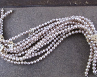 12 Vintage Glass Pearl Strands Ivory Cream Color 1950s Antique Style Off White Simulated 5mm Small Beads for Necklace Bracelet Hank String