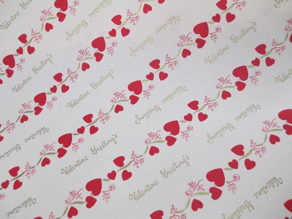 4 yards 1950s valentines day gift wrapping paper floral etsy image 0 mightylinksfo