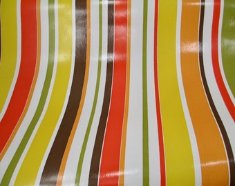 6 Feet 1970s Mod Stripe Wallpaper Avocado Mustard Orange Striped Retro 70s Washable Shiny Wide Yellow Green Brown Funky 2 Yards Groovy