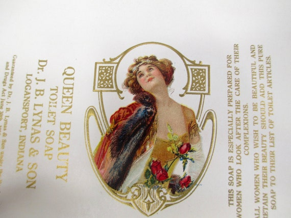 Vintage Queen Beauty Toilet Soap Package Label