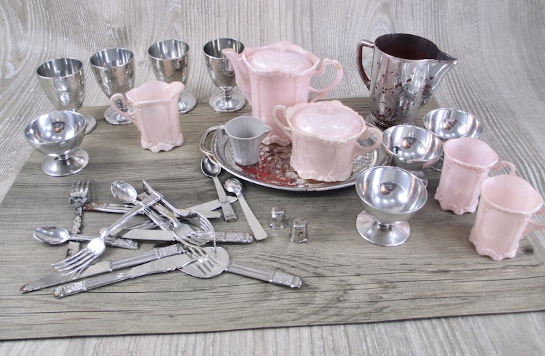 SALE Vintage Plastic Doll Dishes Lot Silver Pink Cream House Retro Dolls Dishes Fancy 1950s 1960s Child Toy Play Toys Spoon Tea Coffee  Set