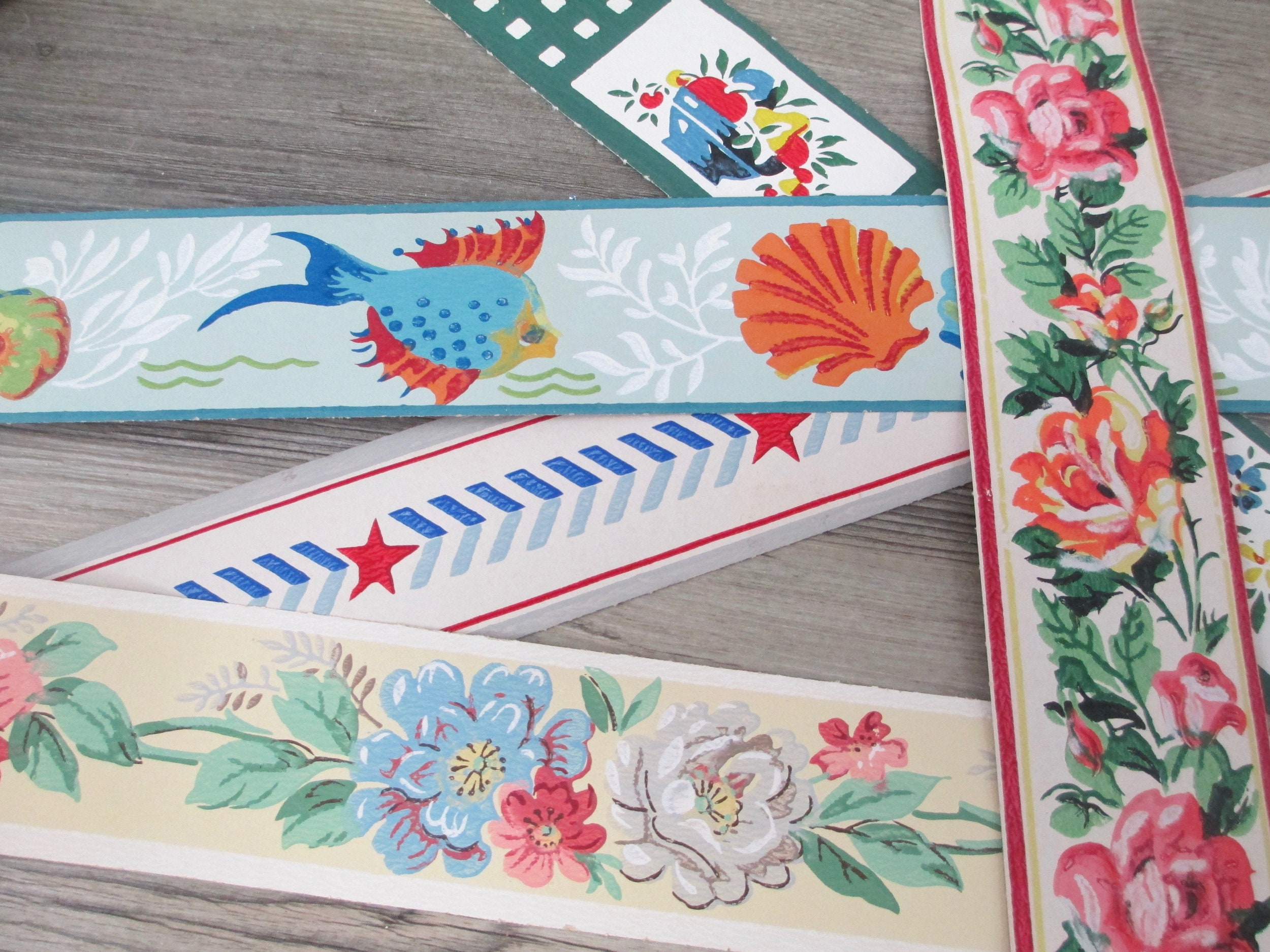 18 Feet Vintage Wallpaper Borders Wall Paper Border Lot Sample Etsy