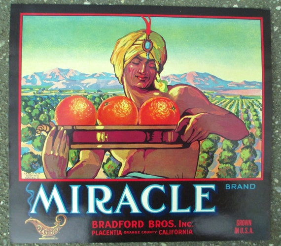 PLACENTIA ORANGE COUNTY CRATE LABEL MIRACLE GENIE DJINNI ART DECO GENUINE 1930S