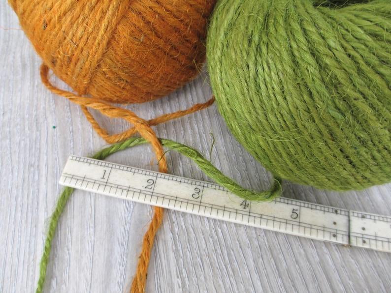 2 Rolls Vintage Jute Twine 80 Yards Each Pumpkin Orange Green Rustic String Cord Natural Primitive Macrame 1970s 70s Craft Country Natural