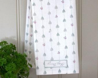 Sage Green Hearts & Roses Linen Union Tea Towel