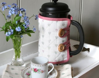 Linen Union Hearts & Roses Cafetiere Cosy