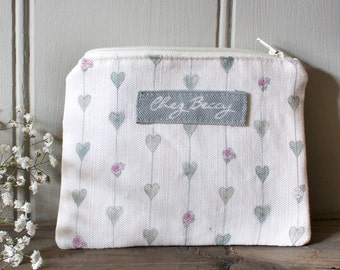 Sage Green Hearts and Roses Linen Union Zip Purse/Cosmetic Case