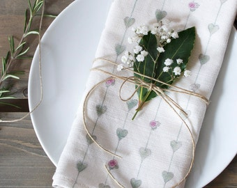 Sage Green Hearts & Roses  Linen Union Napkins - Set of 2