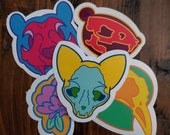 Neon Skull Stickers, Neon Skull, Animal Skulls, Neon Colors
