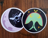 Lunar Insect Stickers, Lunar Moth, Lunar Bee, Moon, Stickers