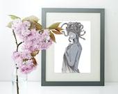 Medusa, Ink Illustration, Digital Print, Mythology Series