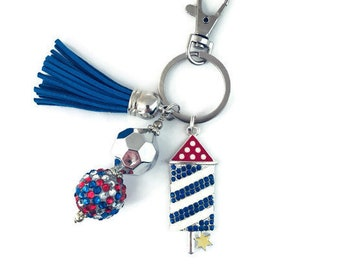 USA Patriotic  Rhinestone Firecracker Rocket Key Ring// Purse jewelry Zipper Pull
