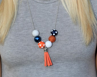 MELANIE Orange Purple Beaded Necklace with Round Black and Gold Beads Blue