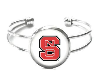 North Carolina State University Cuff Bracelet, NCSU Bracelet, NCSU Jewelry, Wolfpack Bracelet, Game Day Jewelry, Graduation Gift