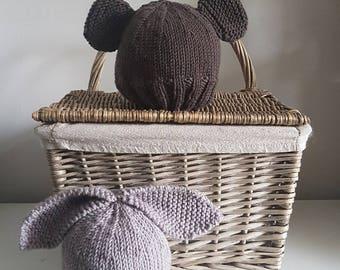 Knitting Pattern Rabbit Hat : Knit bunny hat etsy