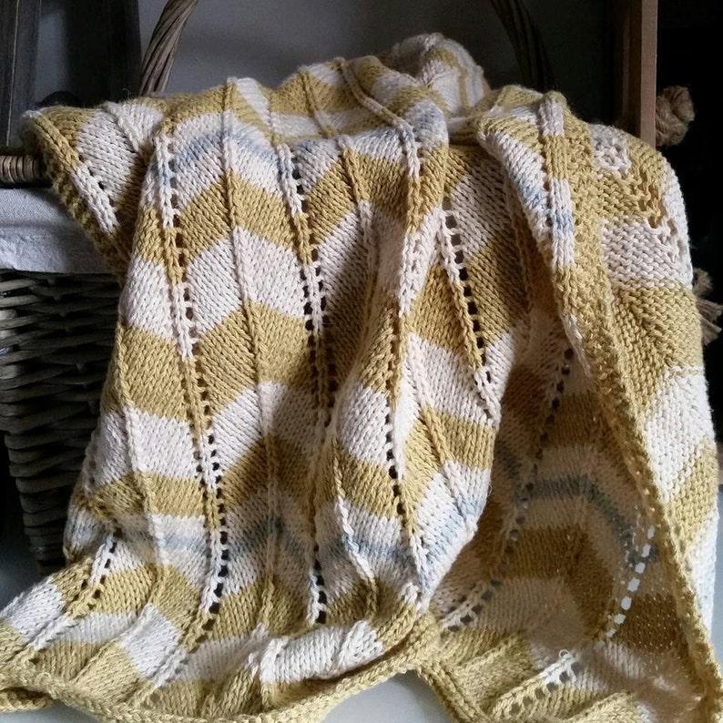 c8c6e0d7d Baby Blanket Knitting Pattern PDF Chevron Stripe Pram