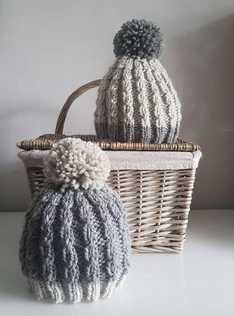 Mock Cable Ladies Bobble Hat Knitting Pattern PDF Bobble ...