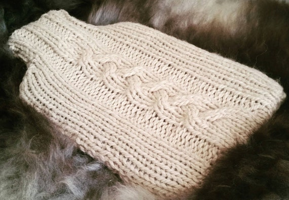 Cable Knit Hot Water Bottle Cover Knitting Pattern Pdf Home Etsy