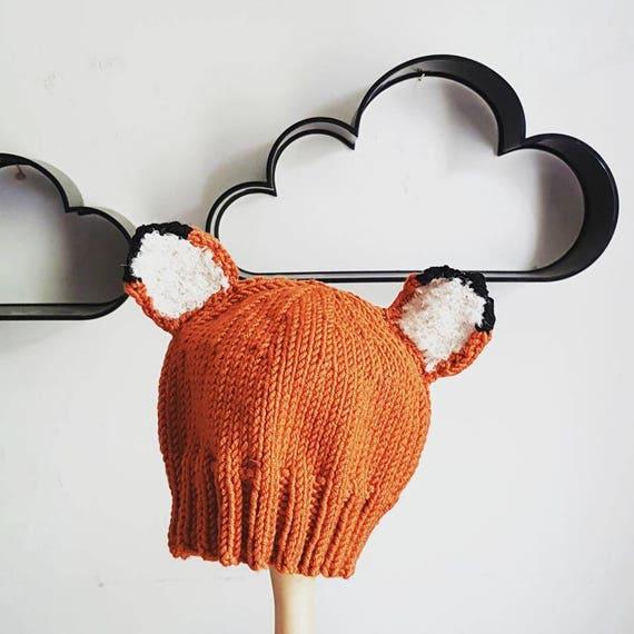 cbe5709d1 Baby s Fox Beanie Hat PDF Knitting Pattern New Baby Gift
