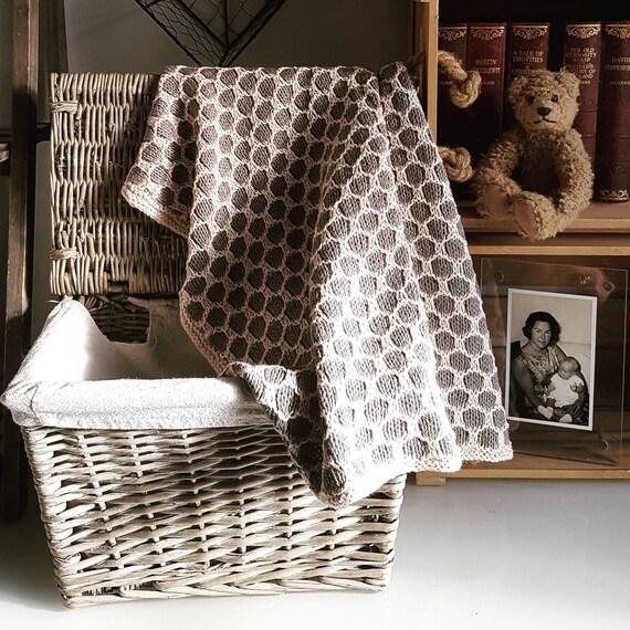 915cf9389 Baby Blanket Knitting Pattern PDF Polka Dot Pram Blanket
