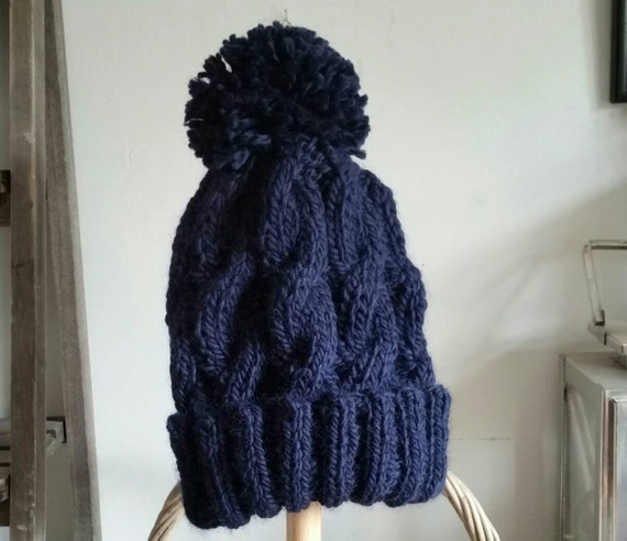 29679c6fbae Pom Pom Hat DIY Knitting Kit Learn to Knit Cable Unisex