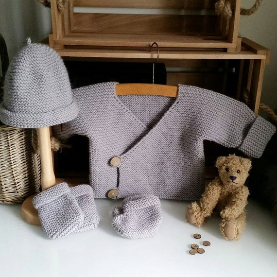 bb41ee231 Hand Knitted Baby Layette Baby Jacket hat mittens booties