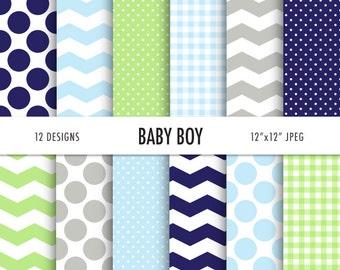 Gingham digital paper, baby boy digital paper, baby shower, chevron, polka dots, 12 Digital Scrapbooking Papers, Instant Download