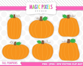 Pumpkin clipart, Fall Clipart, Pumpkins clipart, Commercial Use Clipart, jpg, png, eps, PRINTABLE IMAGES (NOT a cutting file)