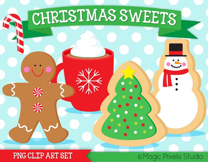 Christmas Cookies Clipart Christmas Clipart Christmas Cookie Exchange Gingerbread Man Candy Cane Hot Cocoa Clipart Instant Download