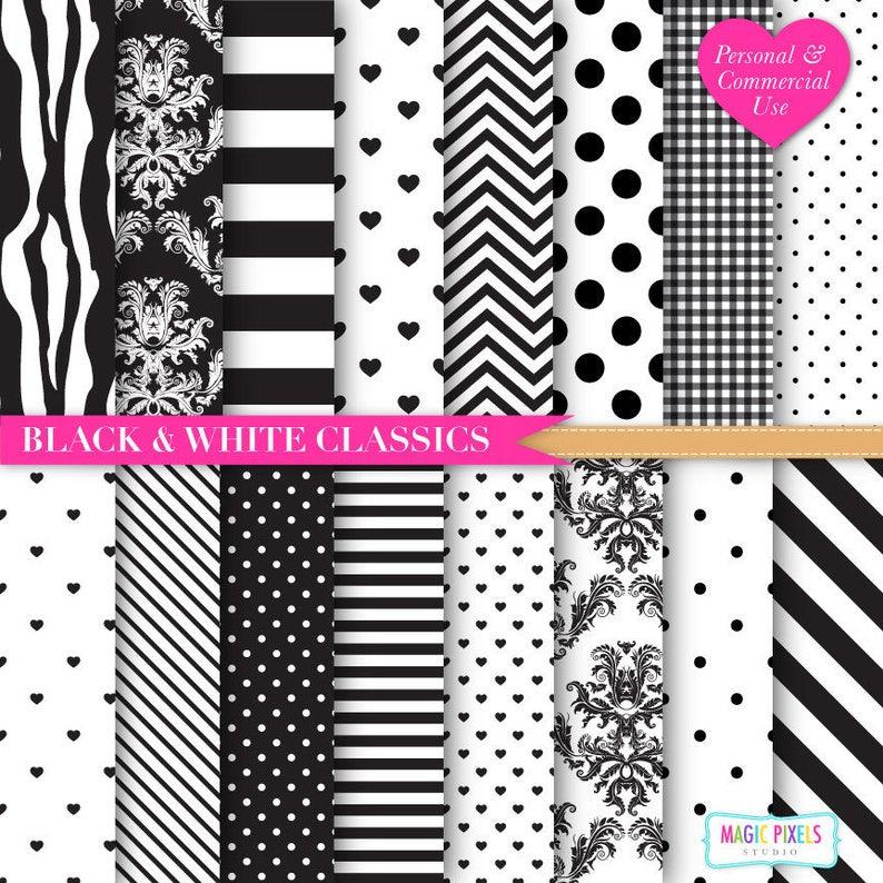 Black and White Digital Paper  Black Chevron  Zebra Print image 0