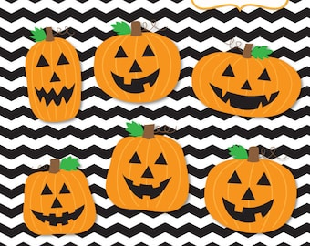 Halloween Clipart, Jack-O-Lanterns, Pumpkins, Commercial & Personal Use Digital Clipart, PRINTABLE IMAGES (NOT a cutting file)