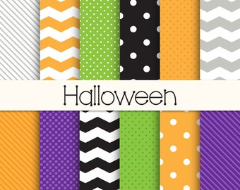 """HALLOWEEN Digital Paper, 12 Digital Papers, Personal & Commercial Use, 12"""" x 12""""  300 dpi  JPEG, Instant Download"""