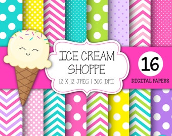 Digital paper, Ice Cream Party, Birthday digital paper, ice cream clipart, polka dots, chevron digital paper, INSTANT DOWNLOAD
