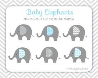 Baby Elephant clipart, Elephant clipart, baby shower clipart, baby boy clipart, PRINTABLE IMAGES (NOT a cutting file)