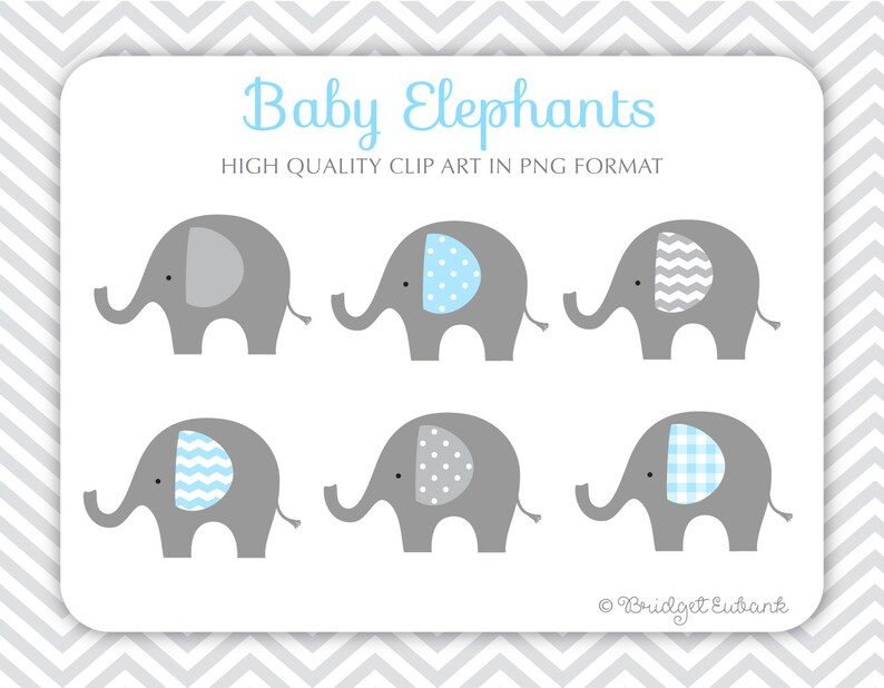 Baby Elephant Clipart Elephant Clip Art Baby Shower Clip Etsy