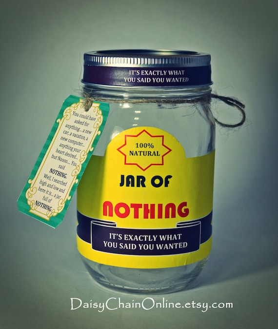 photograph relating to Jar of Nothing Printable Label Free called Jar of Nothing at all Gag Present White Elephant Reward - Printable Labels for Do-it-yourself Undertaking