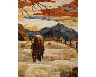 """Art Quilt """"Sérénité"""" Horse landscape,"""