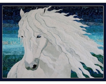 Card Art Quilt with White Horse(CA013)